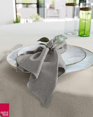 Tafellaken + servetten – linnenlook zwart
