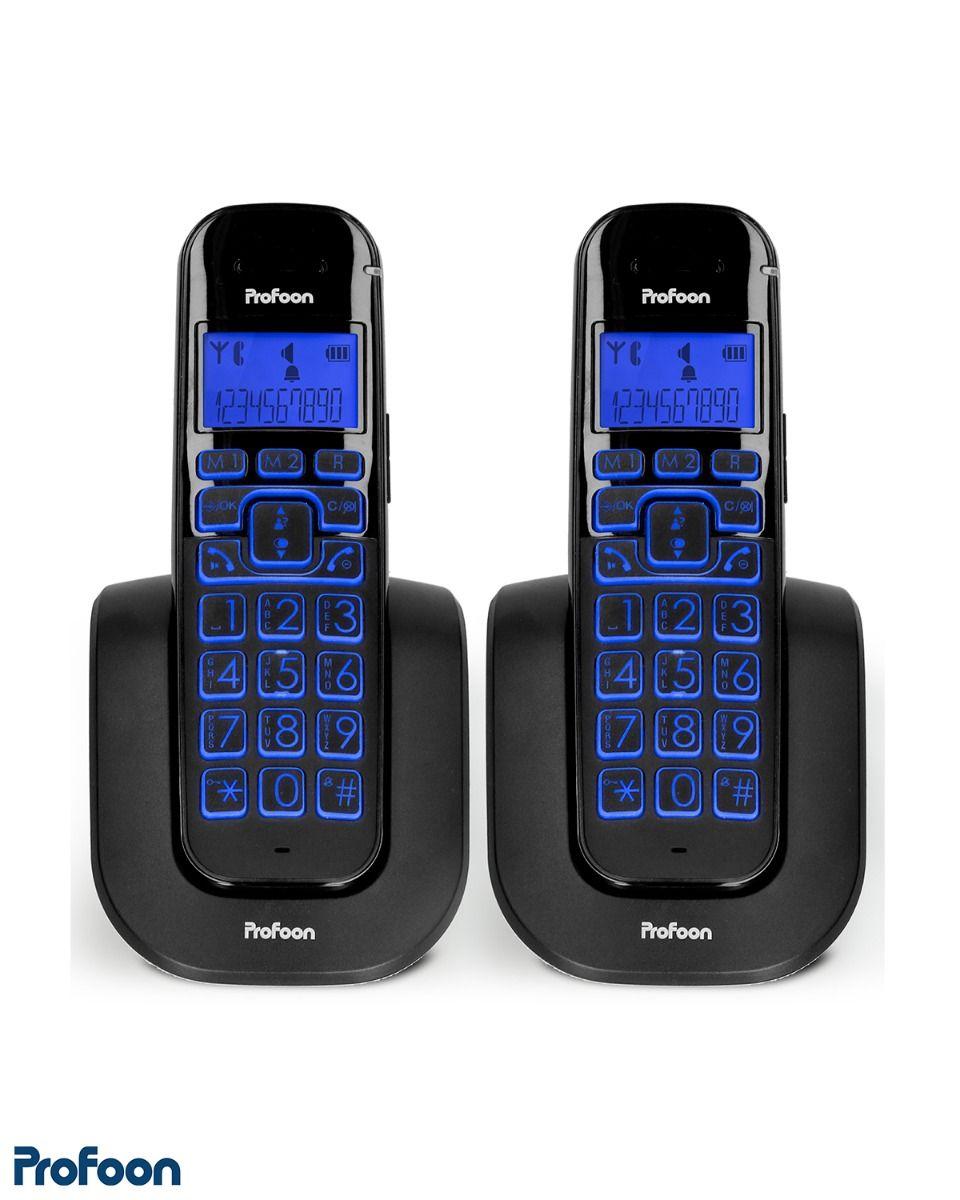 2 draadloze telefoons met grote toetsen